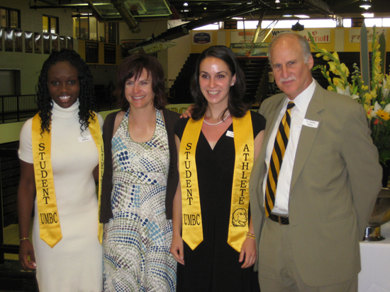 Joy Adewumi (women's tennis), assistant athletic director for academic services Jessica Hammond, Cornelia Carapcea (women's tennis) and UMBC director of athletics Dr. Charles Brown