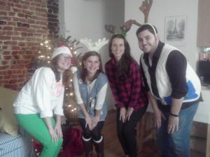 Courtney, Hollin, Liz, and I (Scott) looked super classy in our ugly sweaters.
